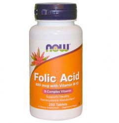 NOW Folic Acid 800 мкг (250 таб)